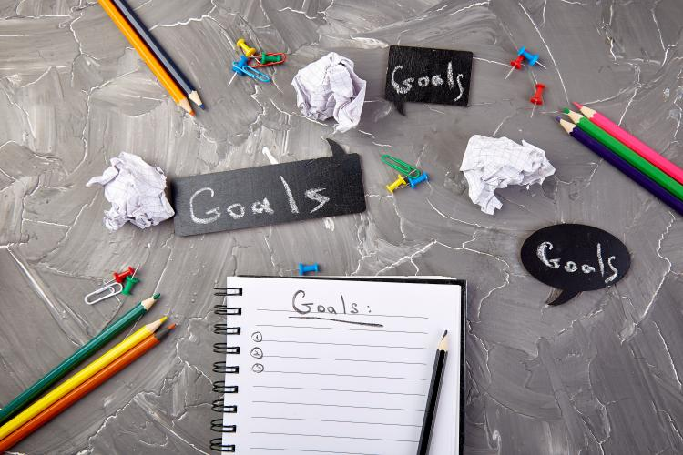 "Stock Photo of notebook with ""goals"" written on page"