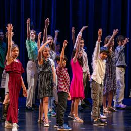 Students on Stage at Theater Opening