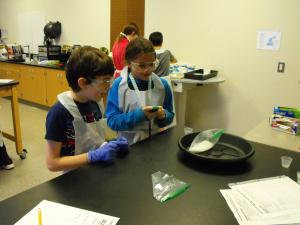 Junior high students in science lab