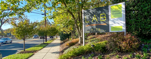 Lab sign in front of entrance for The Lab School