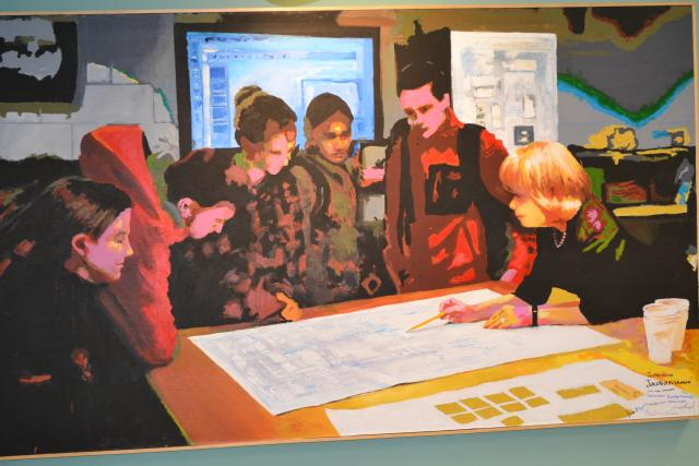 painting of HOS Katherine Schantz with students