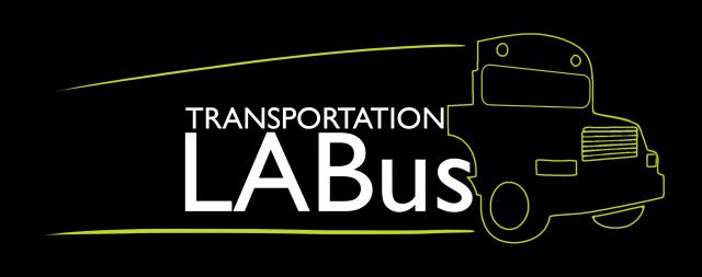 Graphic of bus with LABus text inside of it