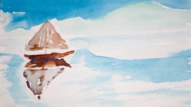 Water color painting of sailboat by student