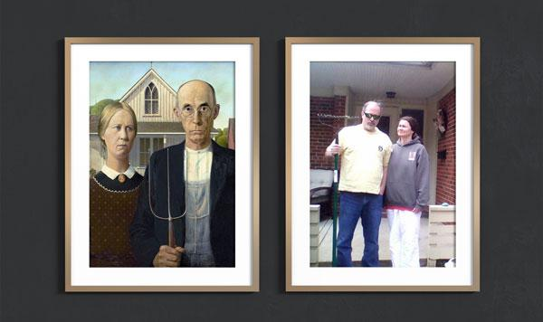 American gothic framed vs photo of recreation with parents