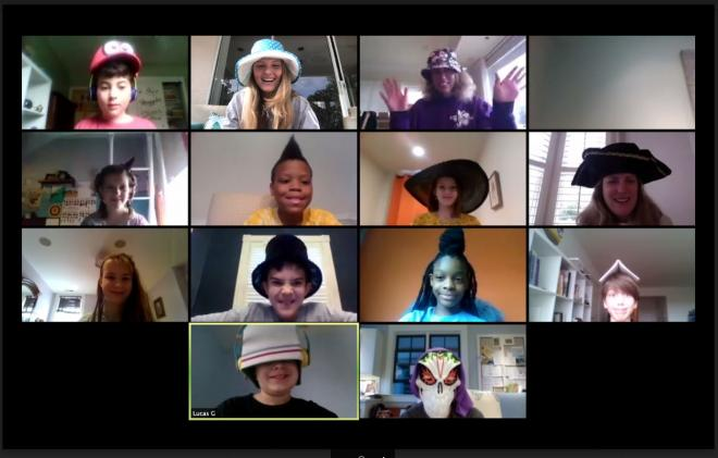 kids on zoom wearing crazy hats