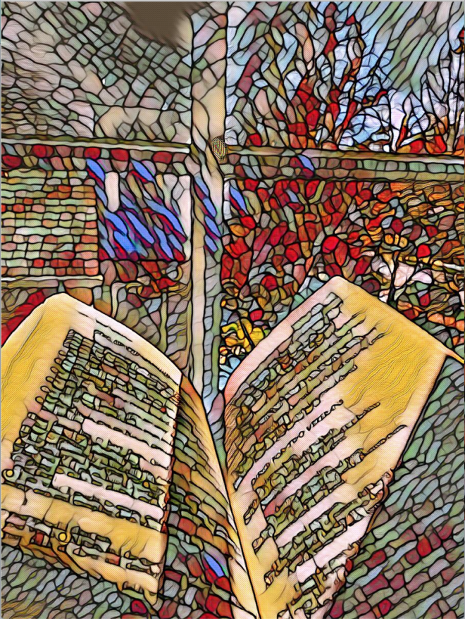 Student atwork of stained glass window