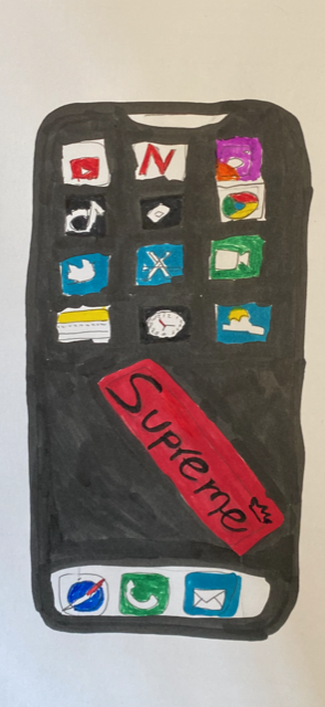 Student artwork of iPhone, unclear